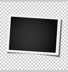 Retro realistic photo frame placed on transparent vector