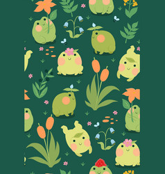 seamless pattern with cute frogs graphics vector image
