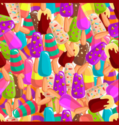seamless pattern with ice cream 2 vector image