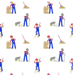 seamless primitive pattern with construction vector image