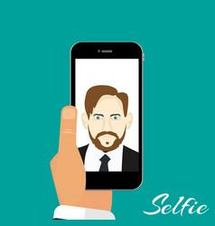 selfie phone in hand green background vector image