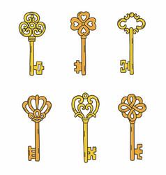 set beautiful vintage keys vector image