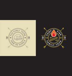 set camp logo with campfire and trailer vector image