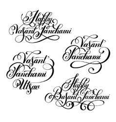 Set Happy Vasant Panchami Utsav handwritten ink vector