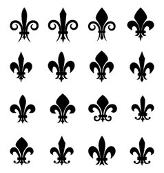 Set of 16 different fleur de lis symbols vector image