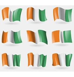 Set of Cote dlvoire flags in the air vector image
