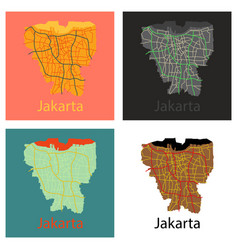 Set of flat outline map of the indonesian capital vector