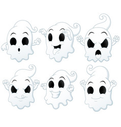 Set of halloween ghost cartoon vector