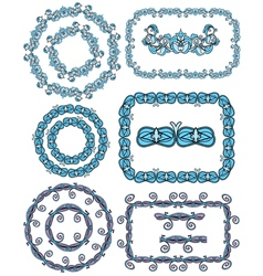 Set of Rectangular and round frames - floral ornam vector image