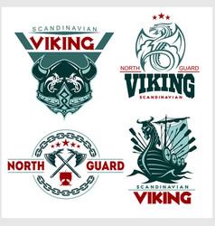 Set of viking emblems labels and logos vector