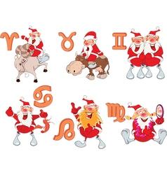 Set of Zodiac symbols with Cute Santa Claus vector