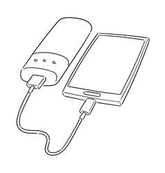 Set smartphone charging via power bank vector