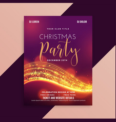 Shiny christmas party flyer with light streak vector
