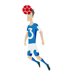soccer player heading ball silhouette vector image