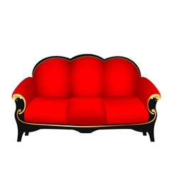 sofa red with gold carved patterns vector image vector image