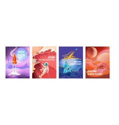 Space landscape posters cosmonauts in spacesuits vector