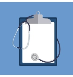 Stethoscope and clipboard isolated on white vector