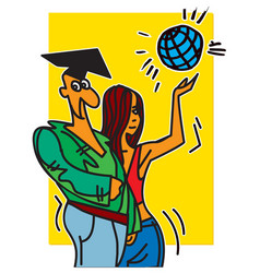 students boy and girl vector image