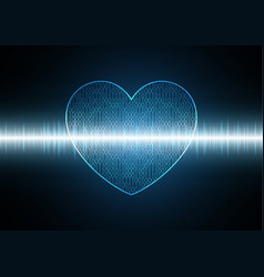 Technology cyber binary love heart with wave vector