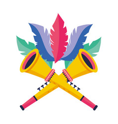 Trumpets with feathers vector