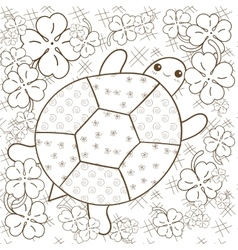 Turtle Heaven adult coloring book page Cute vector image