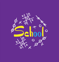 unique school hand-drawn lettering with doodles vector image