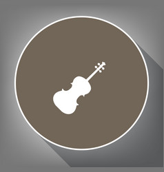 violin sign white icon on vector image