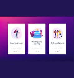 Wedding party app interface template vector