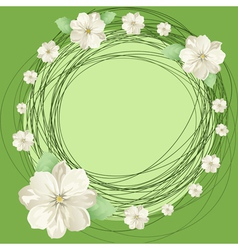 White flowers and round vector