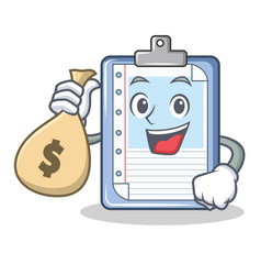 with money bag clipboard character cartoon style vector image