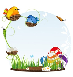 Birds in nests and Easter eggs vector image