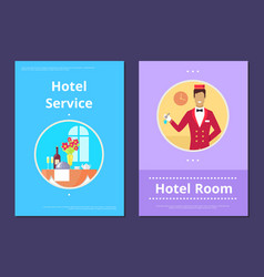 comfortable hotel room service info internet page vector image