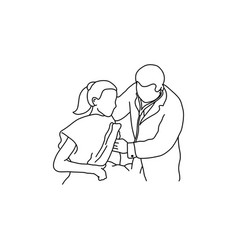 doctor examining chest of a patient with hand vector image