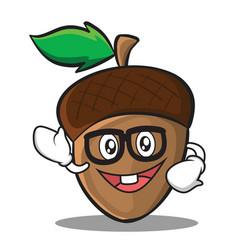geek acorn cartoon character style vector image vector image