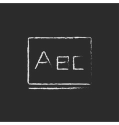 Letters abc on the blackboard icon drawn in chalk vector image