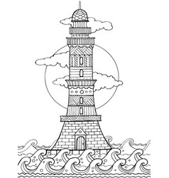 lighthouse coloring book vector image