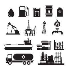 Oil Industry Object Silhouette Set vector image
