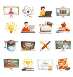 online learning icons set vector image vector image