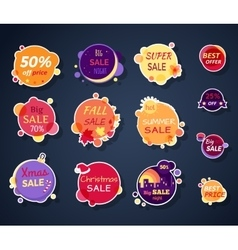 Set of Sale Stickers in Flat Design vector image