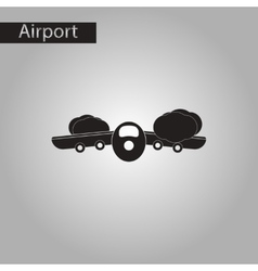 black and white style icon Plane flying clouds vector image vector image