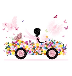 girl on a romantic flower car vector image vector image