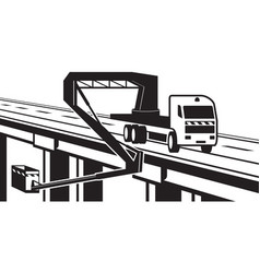lifting machinery on bridge of highway vector image vector image