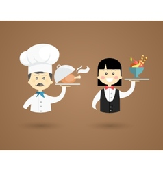 Profession character icons of a chef and waiter vector image