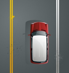 car rides on paved road vector image