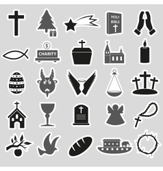 christianity religion symbols set of stickers vector image