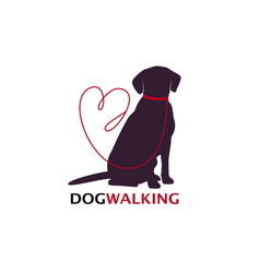 Dog walking logo template with sitting dog vector