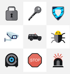 set of 9 editable safety flat icons includes vector image vector image