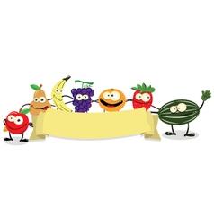 banner fruit vector image