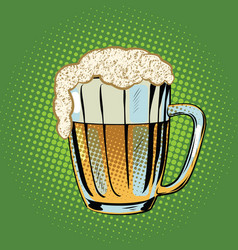full beer mug with foam vector image