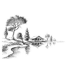 river bank panorama nature artistic sketch vector image